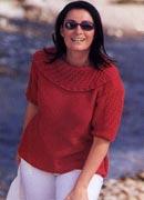 Полное описание вязания пуловера спицами.  Блуза с ажурной вставкой.