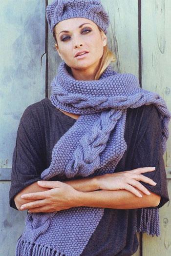 Шапочка и шарф косами