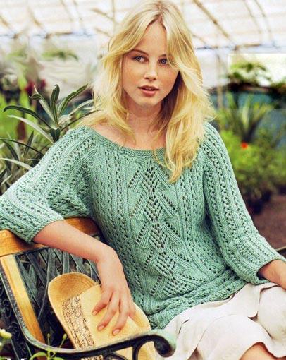 Ажурный пуловер с рукавами