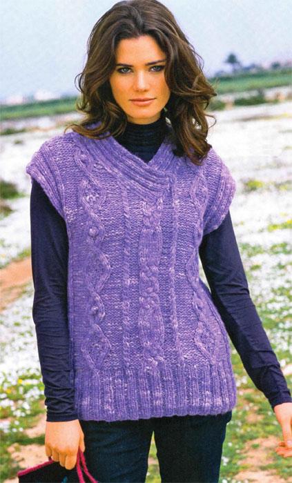 Вязание для детей спицами жилет. вязание спицами жилет с косами, схема и...