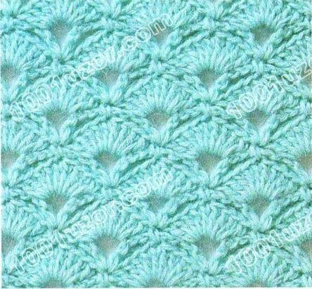 Плотный рельефный узор, образованный пучками столбиков с двумя накидами.  Применяется для вязания теплых вещей.