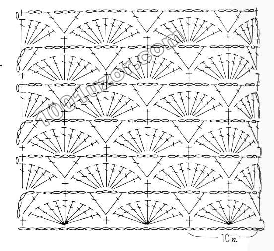 Схемы к модели в журнале нет, только описание.  Похожая схема узора Ракушки.