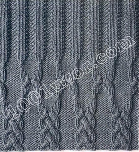 Описание: узор плетенка спицами - Узоры. узоры ажурная...
