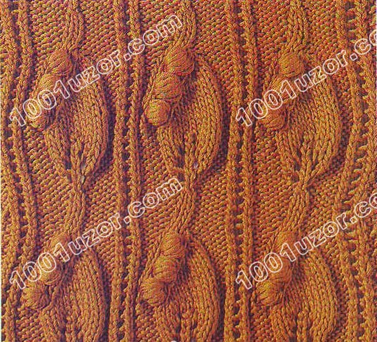 вязаные узоры спицами узор листья.