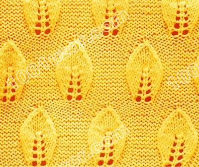 узор спицами листья и листочки. узор спицами цветы листья - Узоры.