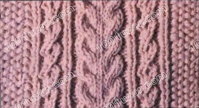 Вязание спицами мужского пуловера с узором Косы.  Набрать.